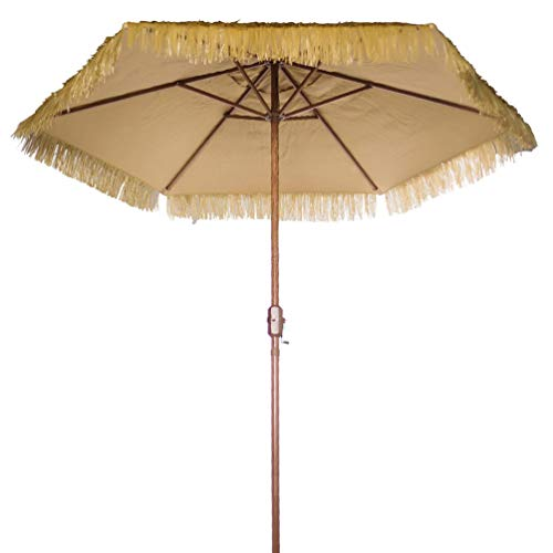 Bayside-21 9' Thatched Patio Tiki Umbrella Crank (9 FT Crank, Natural)