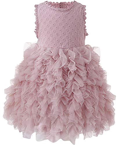 - NNJXD Little Girl Tutu Dress Tulle Ruffles Flower Girls Wedding Party Dresses Size (120) 5-6 Years Button-Pink