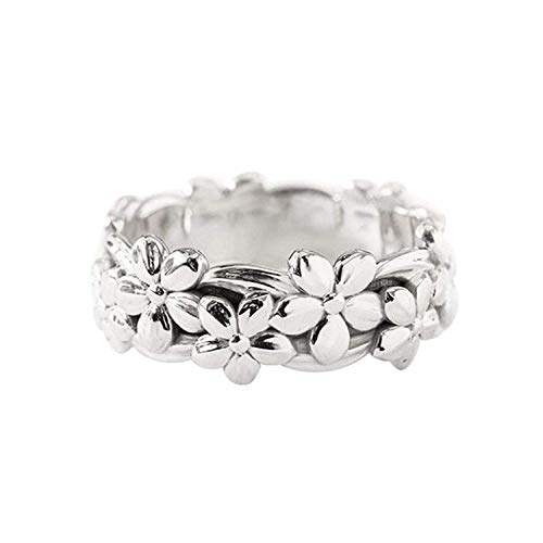 Napoo  Fashionable Wedding Ring Plum Blossom Ring Finger Accessories (Silver, 10)