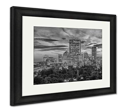 Ashley Framed Prints Boston, Massachusetts, USA Downtown Skyline Over The Park, Wall Art Home Decoration, Black/White, 30x35 (Frame Size), Black Frame, AG32783639