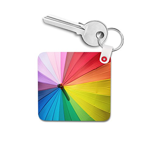 Colorful Summer Umbrella Double-sided Square Metal Key Chain from Style in Print