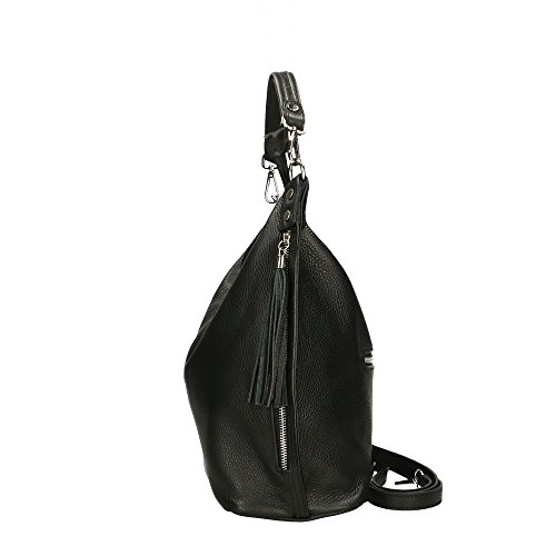 Noir en Italy véritable bandoulière Cm in à 33x29x14 Made cuir femme Sac Aren RFSqwxB