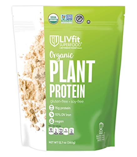 LIVfit Superfood Organic Plant Protein - Add Vegan Protein To Any Recipe, Packed Full Of Organic Superfoods, Contains 16g Of Vegan/Plant Protein, Produced by BetterBody Foods, 12.7 Ounce