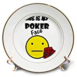 3dRose All Smiles Art Sports and Hobbies - Funny This is my Poker Face Smiley Face with Playing cards - 8 inch Porcelain Plate (cp_288051_1)