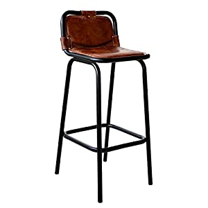 vintage industrial bar stool leather seat