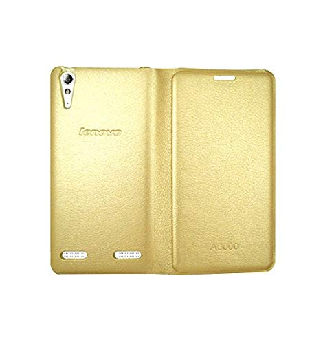 COVERBLACK Leather Flip Cover for Lenovo A6000 Plus   Golden
