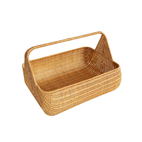2 Person Large Antique Wicker Willow Picnic Baskets Hamper Garden Flower Vegetable Baskets Camping Shopping Storage Gift Baskets (Color : Yellow, Size : 12.999.449.84inchs)
