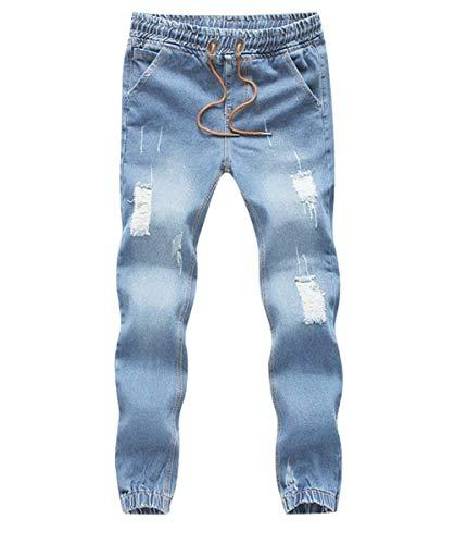 Denim In Vita Con Strappate Jeans Pantaloni Elastico Qk Tasche E lannister Ragazzo Hellblau Coulisse Da Laterali Uomo xZnORqg