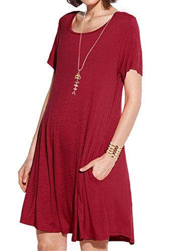 JollieLovin Women's Pockets Casual Swing Loose T-Shirt Dress (Wine Red, ()