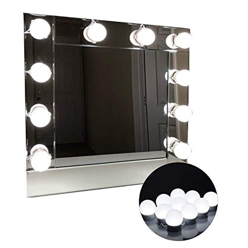 LED Vanity Mirror Lights Hollywood Style Makeup Mirror Bulbs 10 LED Bulbs Kit with Touch Dimmer Lighting Fixture Strip and Power Supply Adapter for Makeup Dressing Table by LED Bright Life