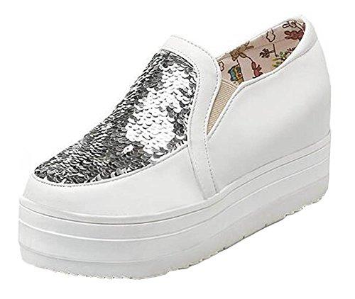 Showhow Womens Trendy Pailletten Elastische Slip Op Middelhoge Hak Verhogen Antislip Platform Sneakers Schoenen Wit