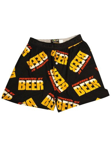 Fun Boxers - Mens Powered By Beer Boxer Shorts, Black 34425-Large