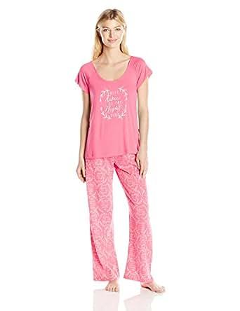 HUE Women's Nite Poem Pajama Set, Ocean Rose, Small
