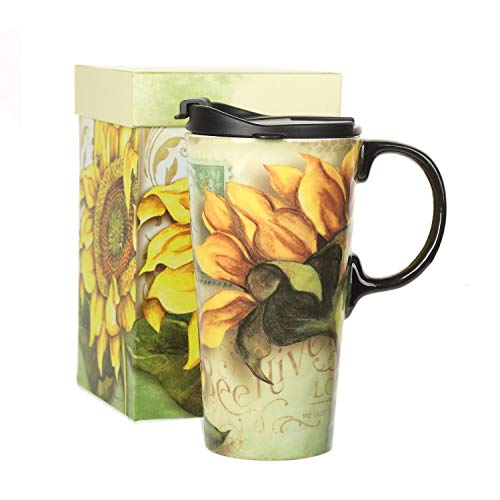Travel Mug Box - Travel Ceramic Coffee Mug Porcelain Water Cup Sealed Lid With Gift Box 17oz.Sunflower