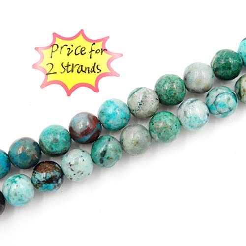 Precious Gemstone Beads for Jewelry Making, 100% Natural AAA Grade, Sold per Bag 2 Strands Inside (Chrysocolla, 8mm)
