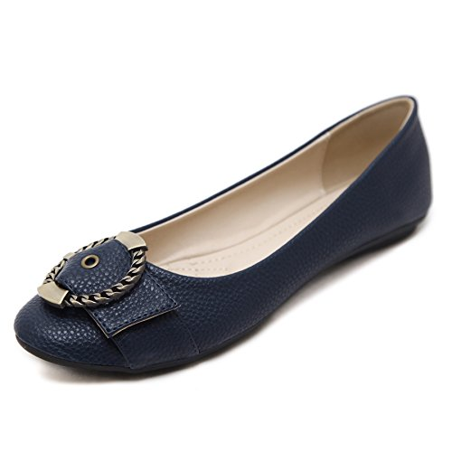 Navy Dress Black Shoes - Meeshine Women's Ballet Flats Comfort Slip On Fashion Dress Shoes(8.5 B(M) US,Navy)