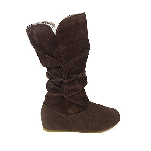 HYIRI Autumn Winter Shoes,Woman Knee High Boots Flat Heel Nubuck Motorcycle Boot for $<!--$8.35-->