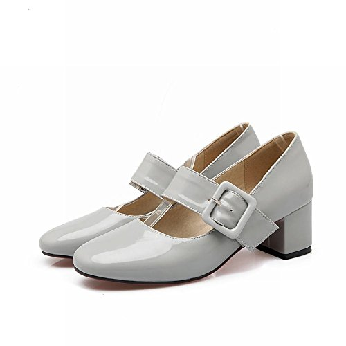 MissSaSa Damen modern und simpel Chunky heel Lackleder geschlossen Schnalle mitte Absatz Pumps Schwarz