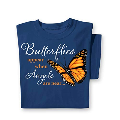 (When Butterflies Appear Inspirational Navy Short Sleeve T-Shirt with Crew Neckline, Navy, Xx-Large)