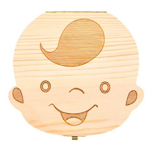 NOVSIX Baby Teeth Box Save Wooden Boxes First Haircut Keepsake Tooth Fairy Box Personalized Tooth Holder for Boy