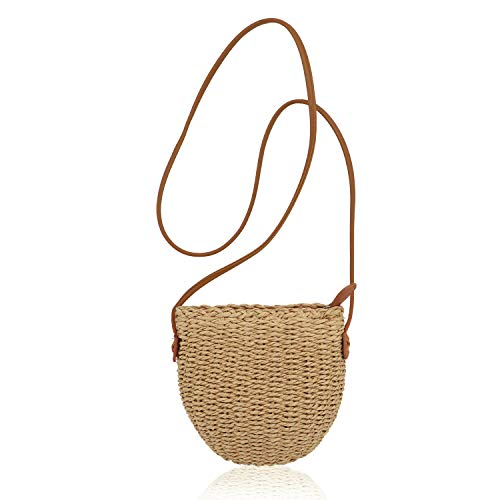 QTKJ Women Straw Zip Shoulder Bag Summer Beach Mini Crossbody Handbag with Leather Shoulder Strap (Khaki) ()