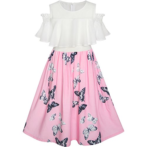 LG84 Girls Dress Chiffon Butterfly Ruffle Cold Shoulder White Pink Size 12 ()