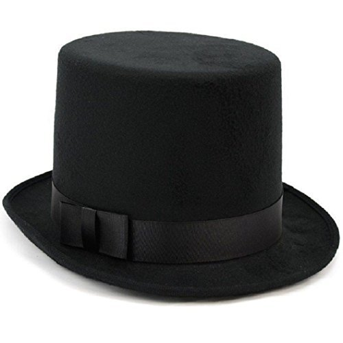 Black Boy Deluxe Top Hat Dickens Victorian Felt High Crown old-fashioned Costume Classic Style 5 Inch Tall - Felt Deluxe Black Hat Top