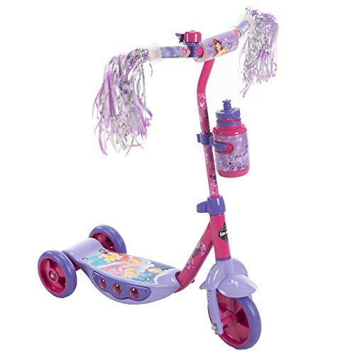 Huffy Disney Princess Preschool Scooter W/ Lights, Streamers & A Water Bottle