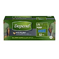 Depend FIT-FLEX Incontinence Underwear for Men Maximum Absorbency, Large/X-Large (38-64 in. Waist, 170-300 lbs.), Pack of 52 Disposable Absorbent Underwear for Adults