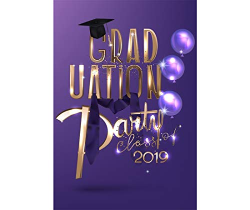 Yeele 7x9ft Graduation Photography Background Grad Class of 2019 Cartoon Purple Balloon Golden Glitter Shin Graduation Ceremony Doctor Hat Show Party Celebration Photo Backdrop Adults Portrait]()