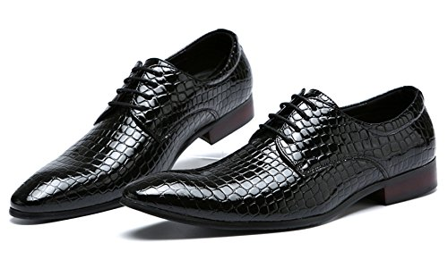 Oxford Dress Shoes Men Pointed Toe Italy Alligator Patent Leather Lace Up Wedding Formal Derby Shoes Black uYTHY