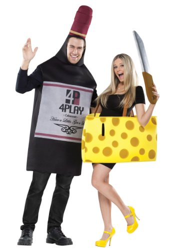 FunWorld Perfectly Paired Wine And Cheese Set, 2 COSTUMES IN 1 BAG,  Black/Yellow, One (Wine Bottle Costumes For Halloween)