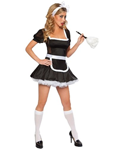 JJ-GOGO Sexy French Maid Outfit - Fancy Midnight Halloween Maid Cosplay Costume Adult ()