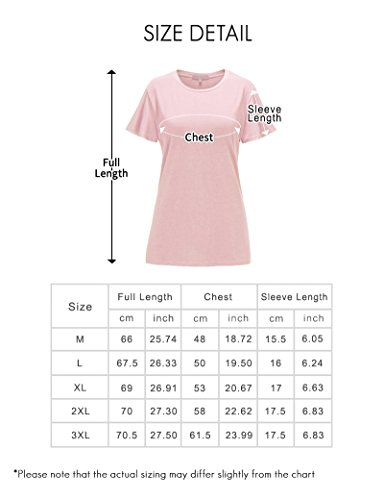 Regna X Women's Short Sleeve V Neck Loose Flowy Comfy Tunic Shirts Grey XL by Regna X (Image #4)