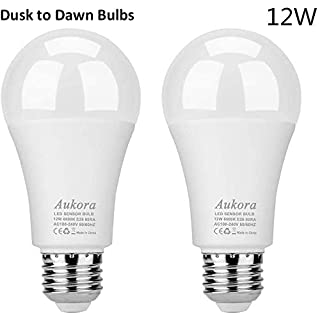 Aukora Dusk to Dawn Light Bulb, 12W (100-Watt Equivalent) Smart Sensor Light Bulbs Super Bright E26 Automatic On/Off Security Lights Outdoor/Indoor for Porch Garage Garden Patio(Cool White 2 Pack)