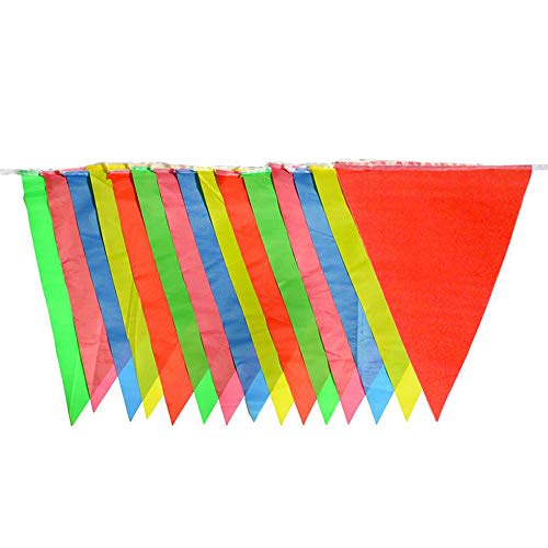 SmoTecQ 10-Meter Weatherproof Pennant Banners 5 Pack, Each Bunting 15 Pieces Multi-Color Triangle Flags 25x35cm, Versatile Party Supplies for Carnival, Circus, Grand Opening and Festival -