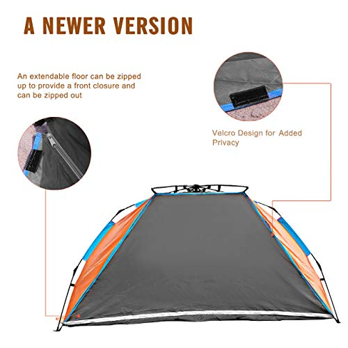 Oileus X-Large 4 Person Beach Tent Sun Shelter – Portable Sun Shade Instant Tent for Beach with Carrying Bag, Stakes, 6 Sand Pockets, Anti UV for Fishing Hiking Camping, Waterproof Windproof, Orange