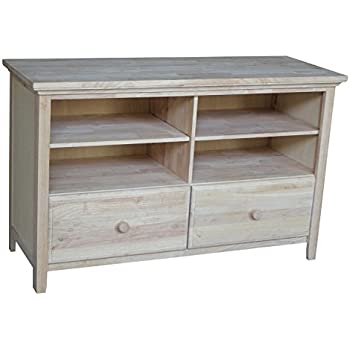 International Concepts Unfinished Entertainment/TV Stand With 2 Drawer,  Unfinished