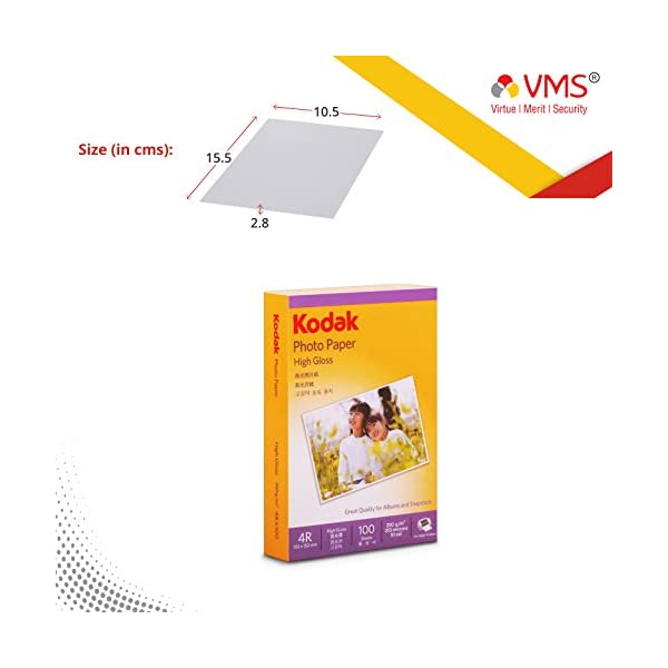 Kodak 4R Photo Paper 102x152mm 200gsm High Glossy Water Resistant Instant Dry For All Inkjet Printers – 400 Sheets