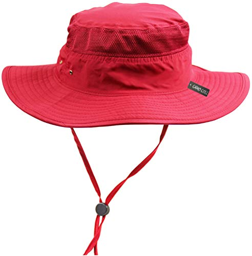 Camo Coll Outdoor Sun Cap Camouflage Bucket Mesh Boonie Hat (Red, One Size)