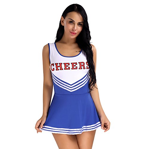 Alvivi Women's Sexy Varsity High School Cheer Girl Cheerleading Uniform Costume Halloween Fancy Dress Blue (High School Musical Cheerleader Costumes Adults)