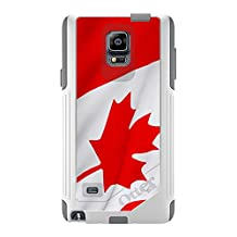 CUSTOM White OtterBox Commuter Series Case for Samsung Galaxy Note 4 - Red White Canadian Flag Canada