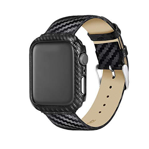 Carbon Fiber Genuine Leather Apple Watch Band 44MM Suit,High-Gloss,Twill Weave Finish,Ultra Thin Apple Watch Protective Case(PC) Compatible Apple Watch Series 4