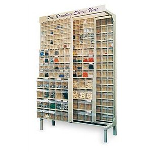 Free Standing Slider Storage System With 5, 6 And 9 Compartment Tip Out Bins  Color