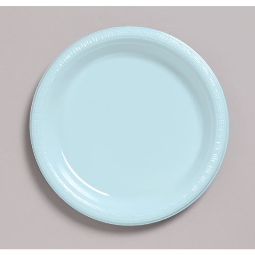 Creative Converting Touch of Color 20 Count Plastic Lunch Plates, Pastel Blue Baby Solid Color Tableware