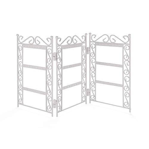 Ktyssp Home Creative Openwork Storage Shelf Hanging Jewelry Gift Earrings Foldable Storage Rack (White)