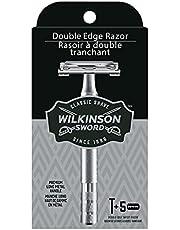 Wilkinson Sword Barbeador de borda dupla para homens com 5 refis de lâminas de barbear de borda dupla
