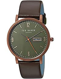Men's 'GRANT' Quartz Stainless Steel and Leather Casual Watch, Color:Brown (Model: TE15196009)