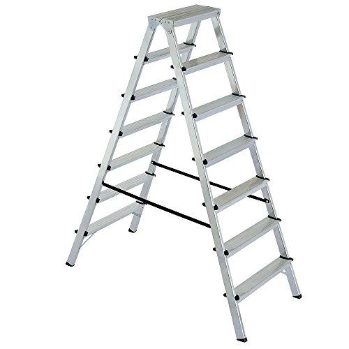 Alu-Klappleiter Doppelleiter Bockleiter Malerleiter Leiter 2x7 Stufen