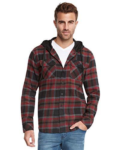 9 Crowns Men's Lightweight Hoodie Plaid Flannel Shirt-Black/Burg-L